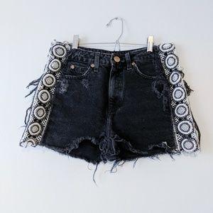 River Island black denim crochet festival shorts